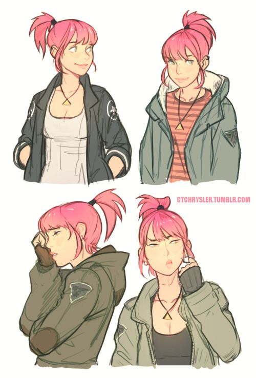 Image result for girl with short pink hair drawing