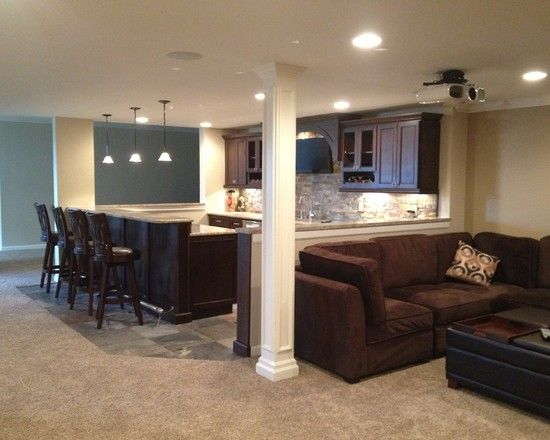 Great Carpeting Ideas For Basements: Great Basement Bar Area: Stacked Stone, Bar Area, Light