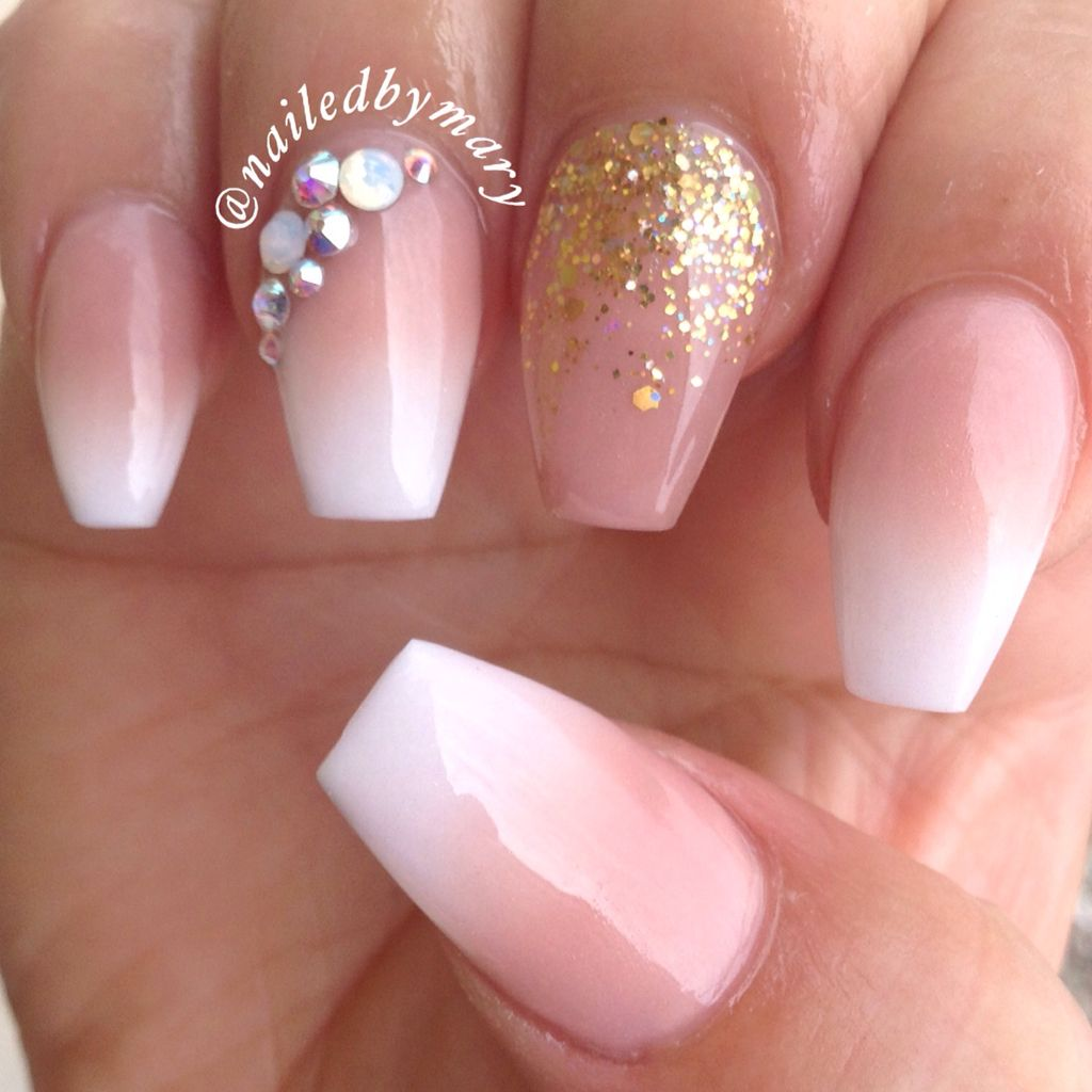 Gradient ombré American French gold Swarovski crystals coffin ...