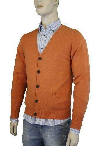 Lucky Brand Men's Cardigan Sweater Orange 7M50044-CIJ/810-Large ...