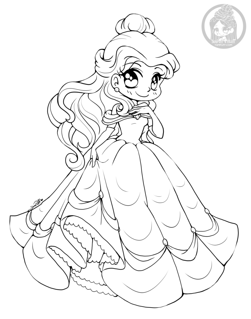 Coloriage Kawaii Disney.Dessin Princesse Belle Par Yampuff Coloriage Disney Adulte Girls