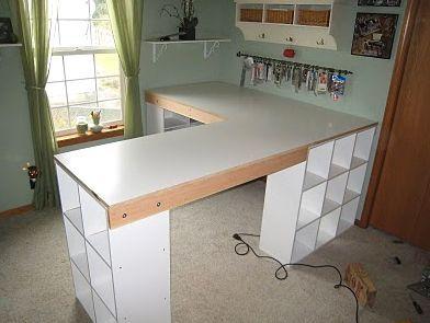 Craft Room L Shaped Desk Diy L Shape Desk With Ikea Like Cubbies Craft Desk Desk Craft Table