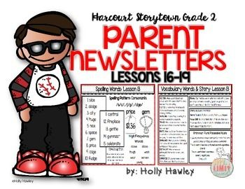 If you are looking for a way to send home all the information you are covering in your Harcourt Storytown reading lessons, this may be useful to you! This set covers lessons 16-19. There are 2 parent news letters for each lessons. One with spelling and phonics and the other with vocabulary and story features.