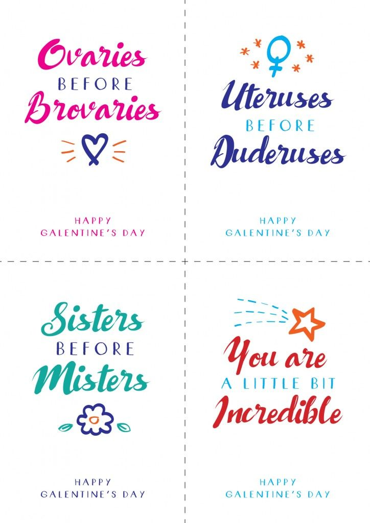 Free Galentine's Day printable postcards notes
