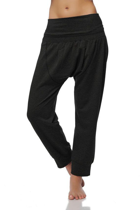 Dropped Crotch Yoga Pants -Black Harem Yoga Pants - Loose Cotton ...