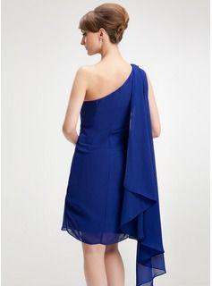 Sheath/Column One-Shoulder Knee-Length Chiffon Homecoming Dress With Beading (022009978) - JJsHouse