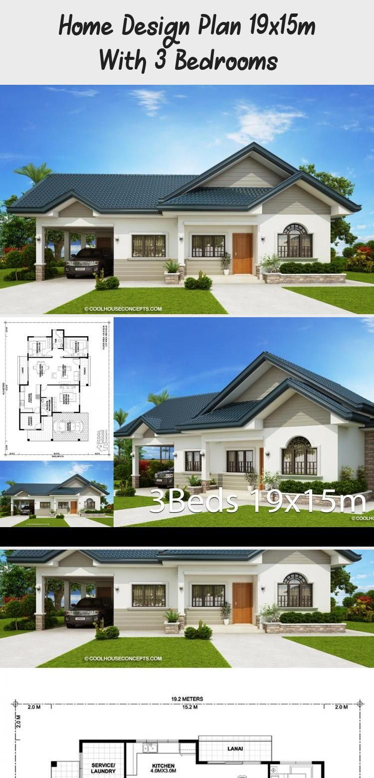 Home Design Plan 19x15m With 3 Bedrooms Home Design With Plansearch Narrowhouseplans Ranchhouseplans In 2020 Home Design Plan House Design House Plans South Africa