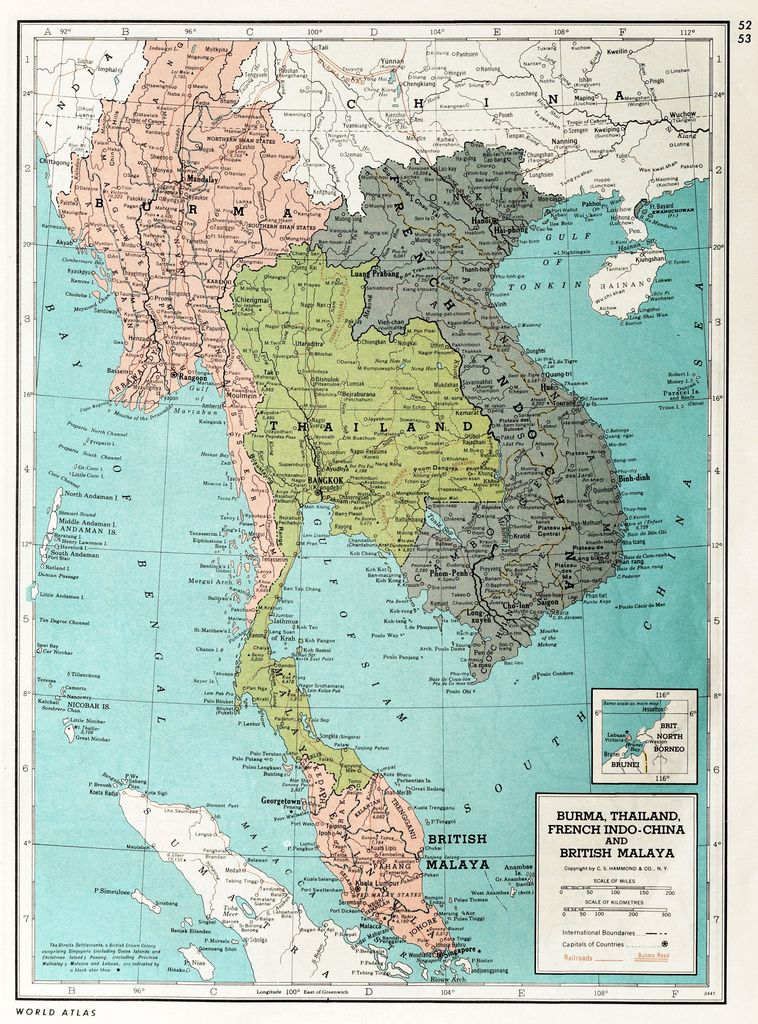 Map Of Asia In French.Burma Thailand French Indo China And British Malaysia 1939 Maps
