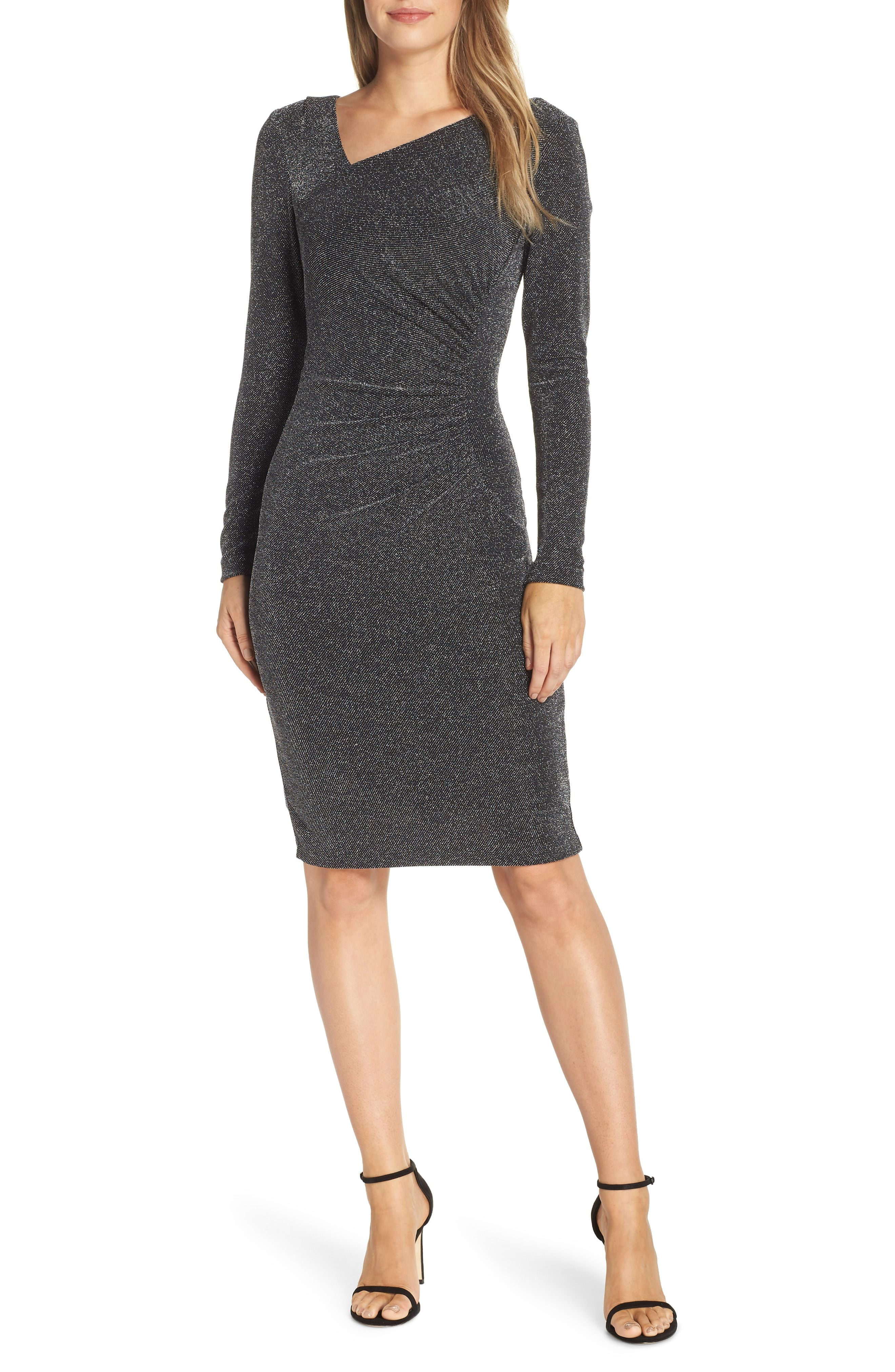 Vince Camuto Asymmetrical V Neck Metallic Cocktail Sheath Available At Nordstrom Cocktail Dresses With Sleeves Trendy Cocktail Dresses V Neck Cocktail Dress [ 4048 x 2640 Pixel ]