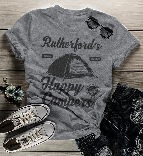 Personalized Camping T Shirt Happy Campers Shirt Custom Graphic Tee Camp... -Womens Personalized C