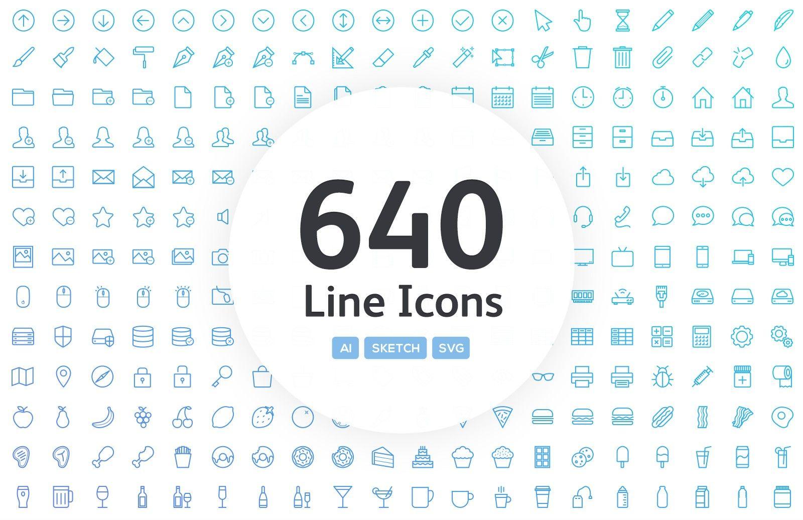 Linia Line Vector Icons Diseño grafico, Graficos