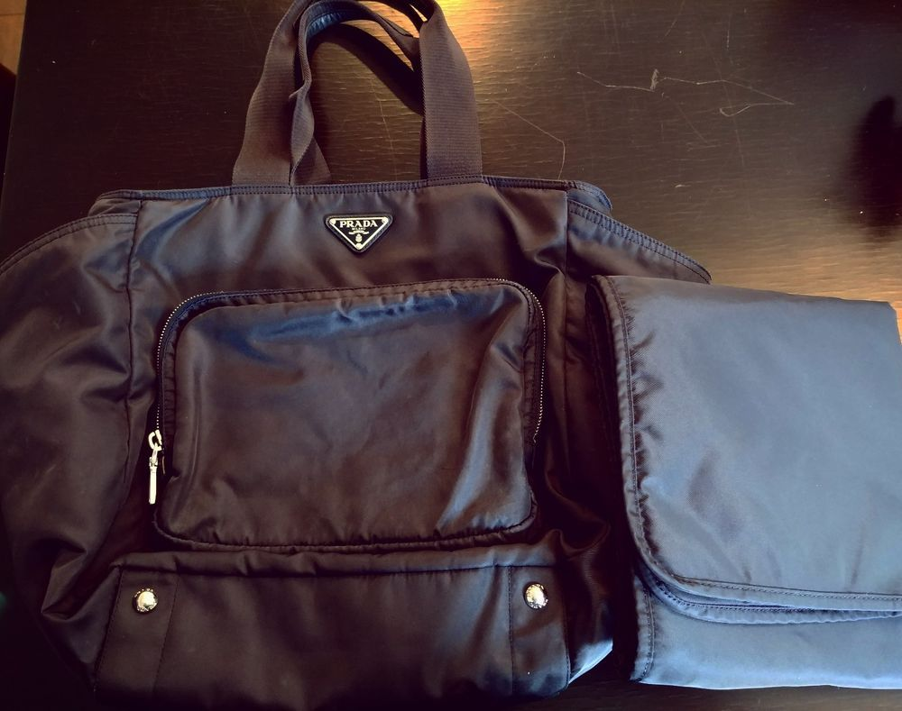 5d1c687b60d00e ... switzerland authentic prada navy vela diaper bag with changing pad and  insulated bottle bag prada fashion