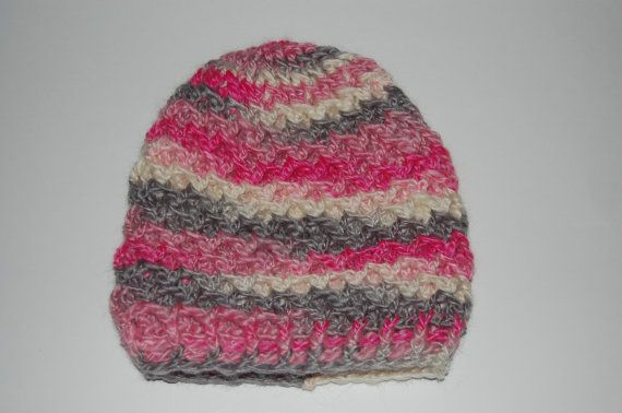 Women's Crisscross Beanie in Pink Grey and White by CrochetingKeri, $14.00