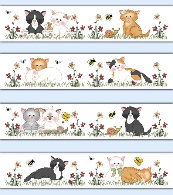 CAT WALLPAPER BORDER Decal Wall Art Girl Nursery Farm