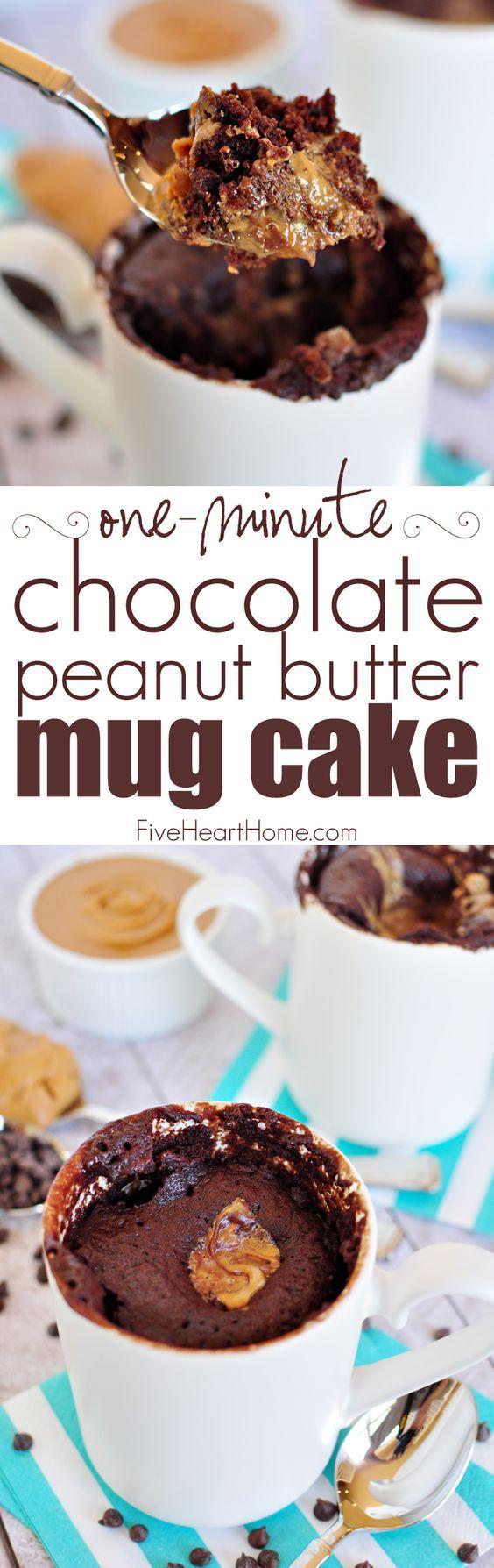 One-Minute Chocolate Peanut Butter Mug Cake ~ moist ...