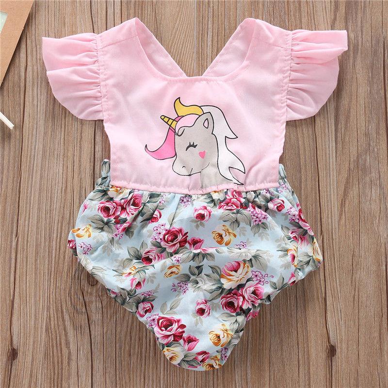 e48a6e2f029a Hotborn Baby Girls Floral Unicorn Romper Bodysuit Jumpsuit Outfits Sunsuit  G. Cute Infant ...