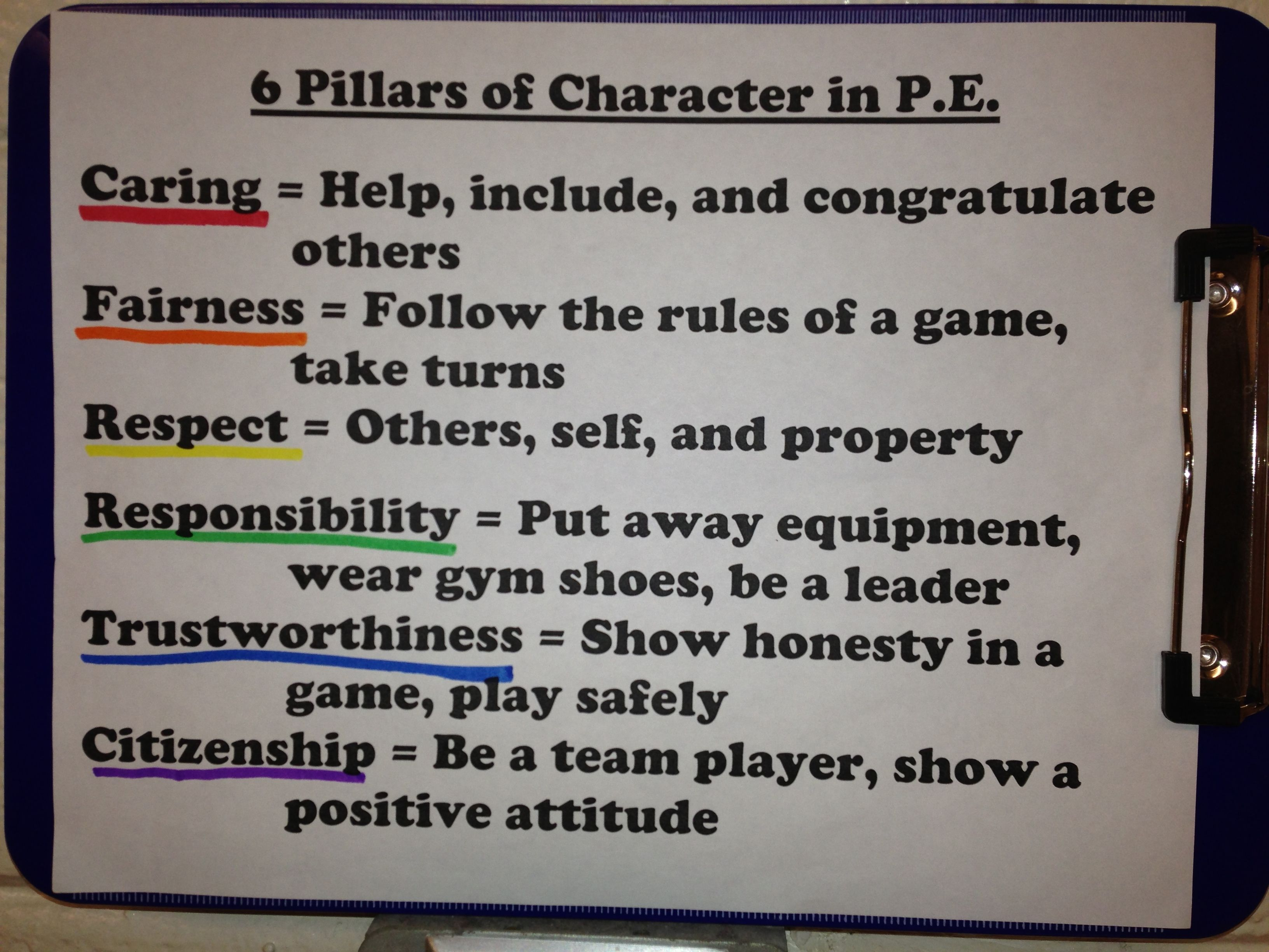 My P E Rules As They Relate To The 6 Pillars Of Character