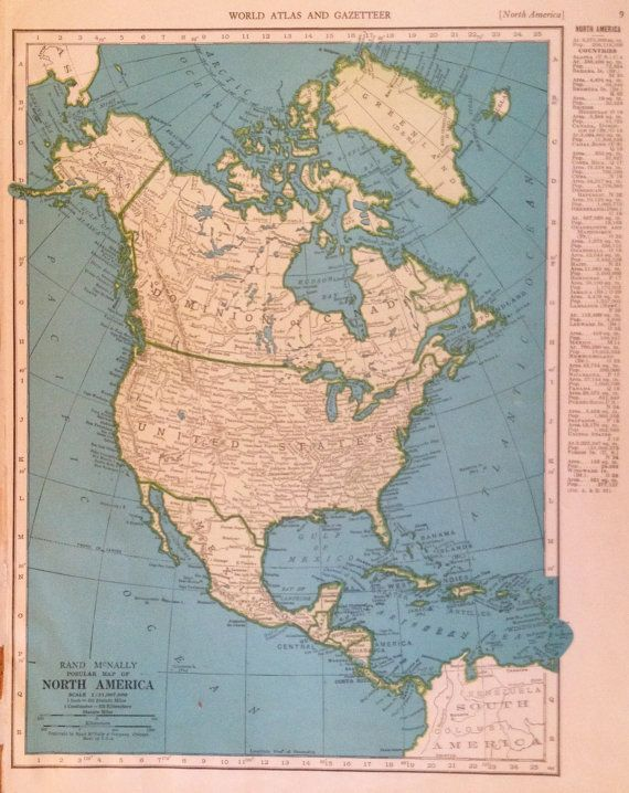 1947 North America Map Gallery Wall Art 40s Of By Plaindealing: North America Map Wall Art At Usa Maps