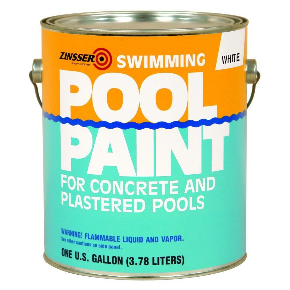 Zinsser 1 Gal White Flat Oil Based Swimming Pool Paint 4 Pack 260538 The Home Depot Pool Paint Indoor Swimming Pool Design Swimming Pools