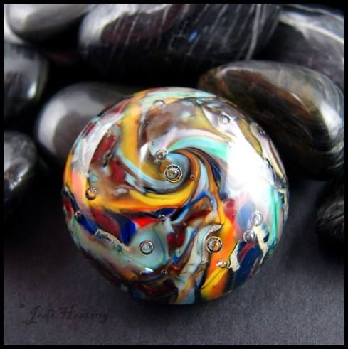 One of my hand-torched glass cabochons