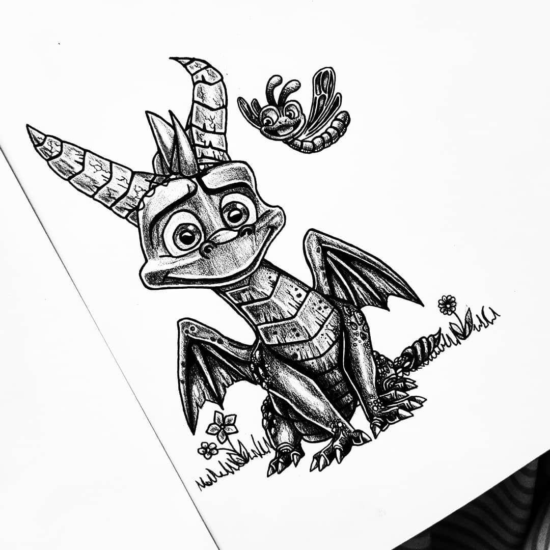 Spyro the dragon 🌸🐲 • • • • • • • • • • #spyrotattoo #spyrothedragon #spyro #game #ps4 #tattoo #tattooflash #tattooaddict #tattoodraw #tattoodesign #ink #inked #inkaddict #inktattoo #blacktattoo #blackandwhite #cute #draw #drawing #dragondrawing #grunge #player #design #designtattoo