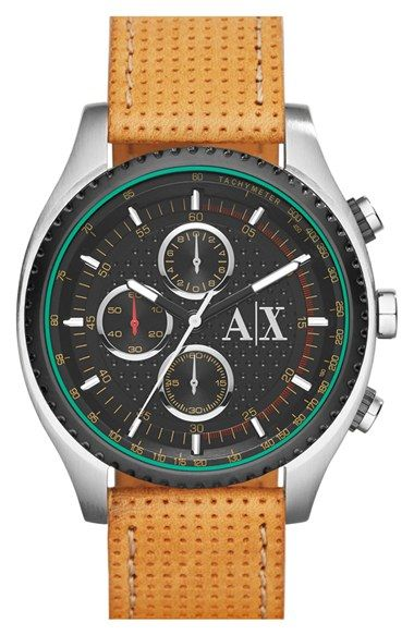 db7f7ca139c AX Armani Exchange Chronograph Perforated Leather Strap Watch