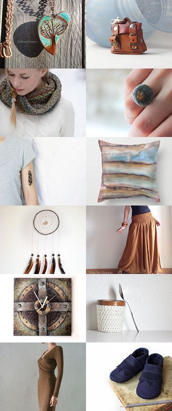 Blue  @ caramel  fall fashion by Chinook Design on Etsy--Pinned with TreasuryPin.com