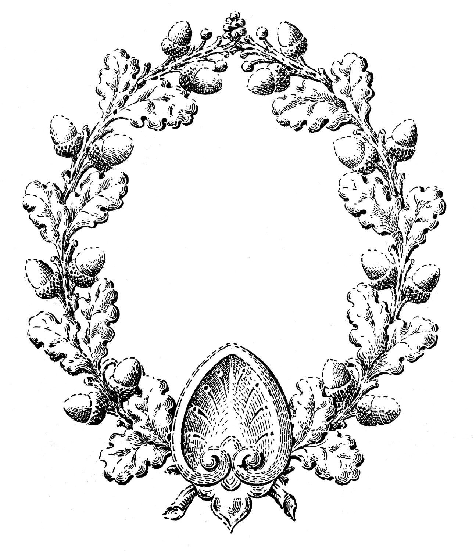 vintage fall clip art oak leaf and acorn wreath project life
