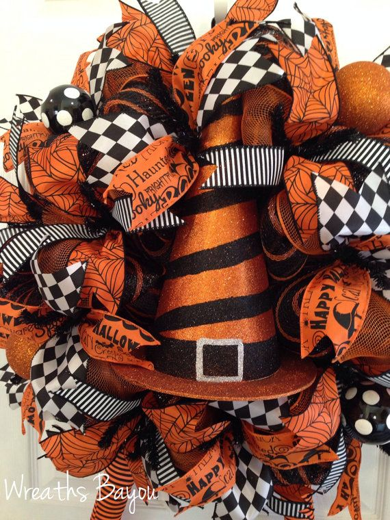Halloween Wreath Witch Wreath with Legs Deco Mesh by wreathsbayou
