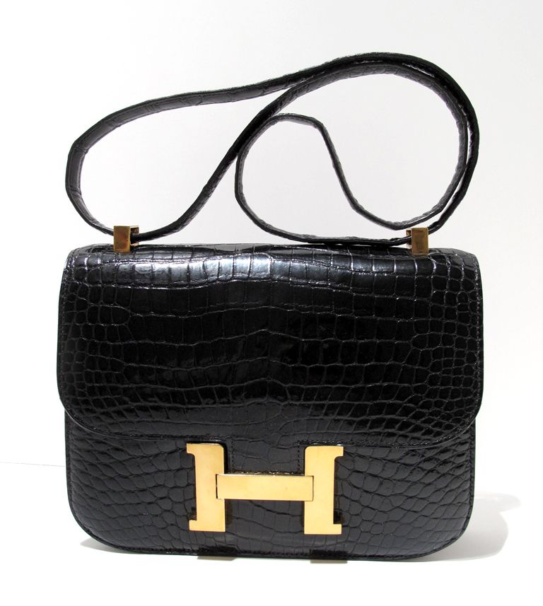 """Hermes Constance 23cm in Black Crocodile with Gold hardware 