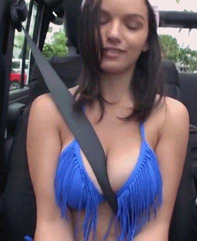 Sexy small boobs seatbelt gif
