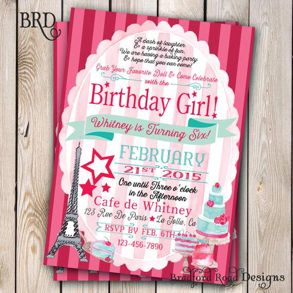 american girl grace inspired birthday invitation american girl in, Party invitations