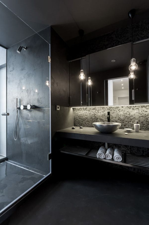 Interior Bathroom Arredo Bagno Nero Black Bagno Interno