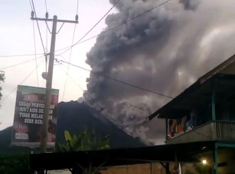 A still from a video showing the ongoing ash eruption at Indonesia's Mount Sinabung.