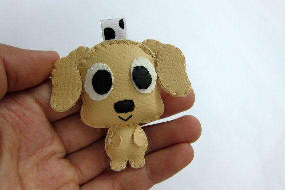 Cute Dog Leather Keychain  Patrick Sadie Rocky by araleling, $12.00