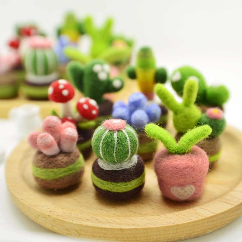 Succulent plants wool needlepoint kit wool felt needle felting pendant craft needlecraft DIY handmade| | - AliExpress