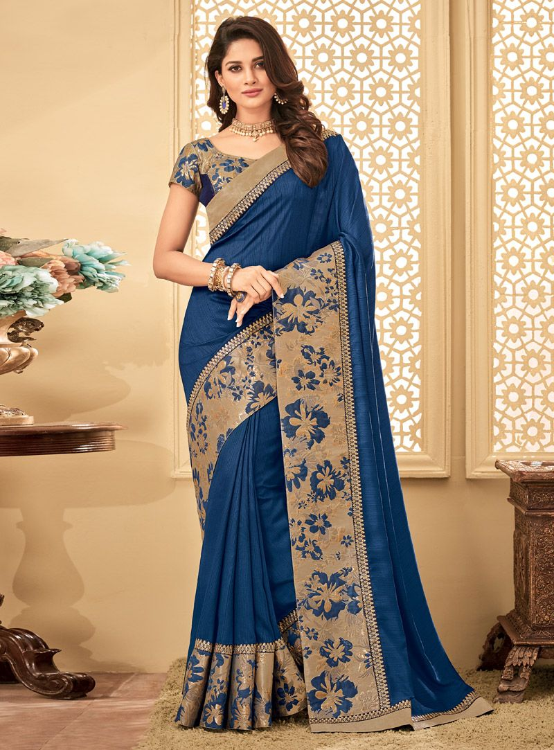0e80403f11d998 Buy Blue Silk Engagement Wear Saree 115785 with blouse online at lowest  price from vast collection of sarees at m.indianclothstore.c.