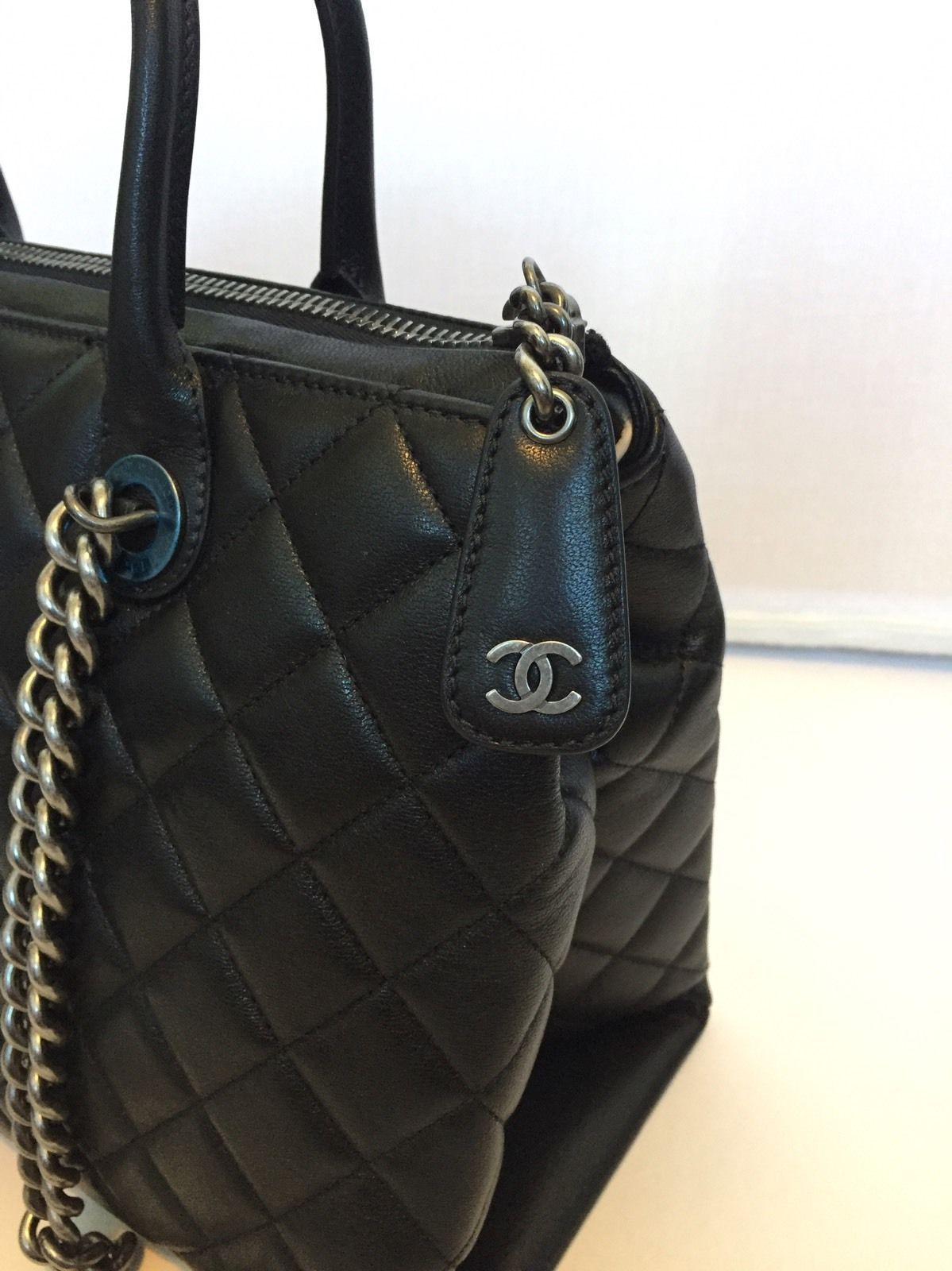 Chanel Calfskin Leather Tote Work Bag Black In 2019