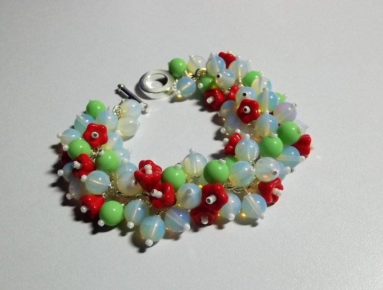 Green Red Seafoam Flower Bracelet Mothers by DelaneyJeanJewelry