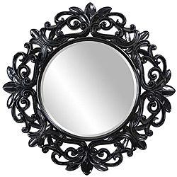 Black Wall Mirrors round framed glossy black wall mirror | black wall mirror
