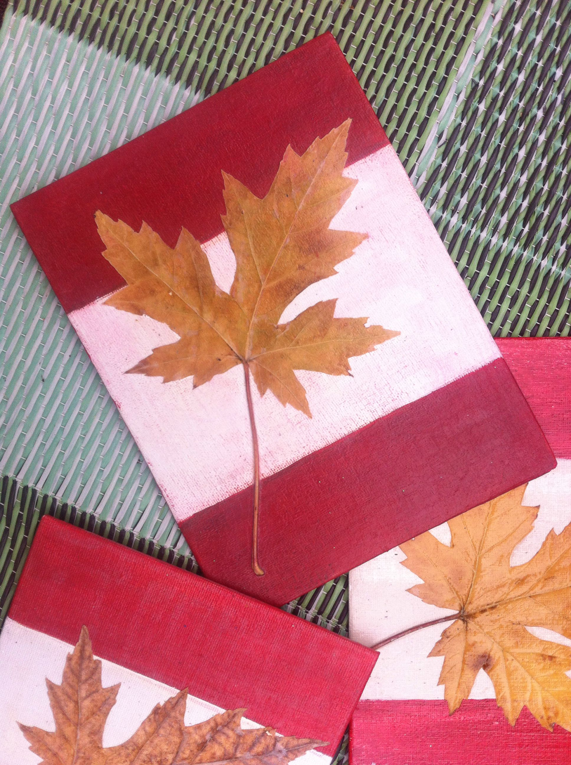 Maple Leaf On Canvas Simple Autumn Craft Paint Canvas White,