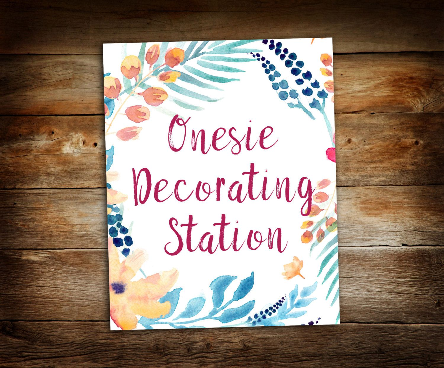 Onesie Decorating Station   Sign The Onesie   Flower Baby Shower   Baby  Shower Sign