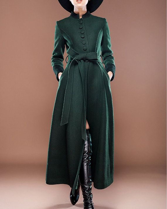 Stand Collar Royal Blue Cashmere Wool Coat with Lace Details ...