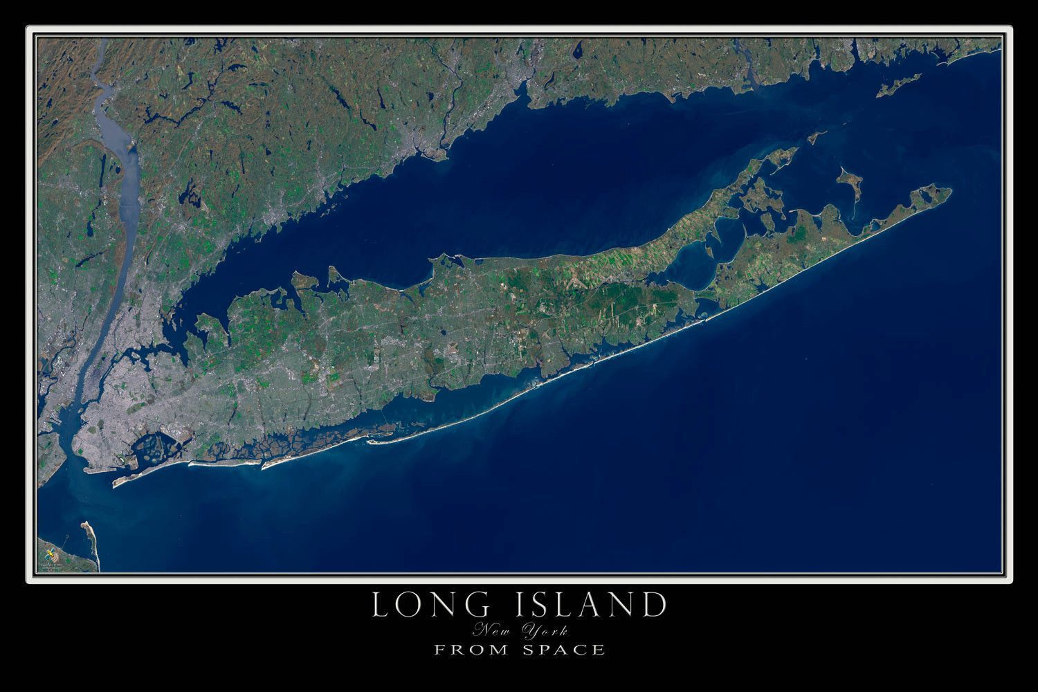Long Island New York Satellite Poster Map