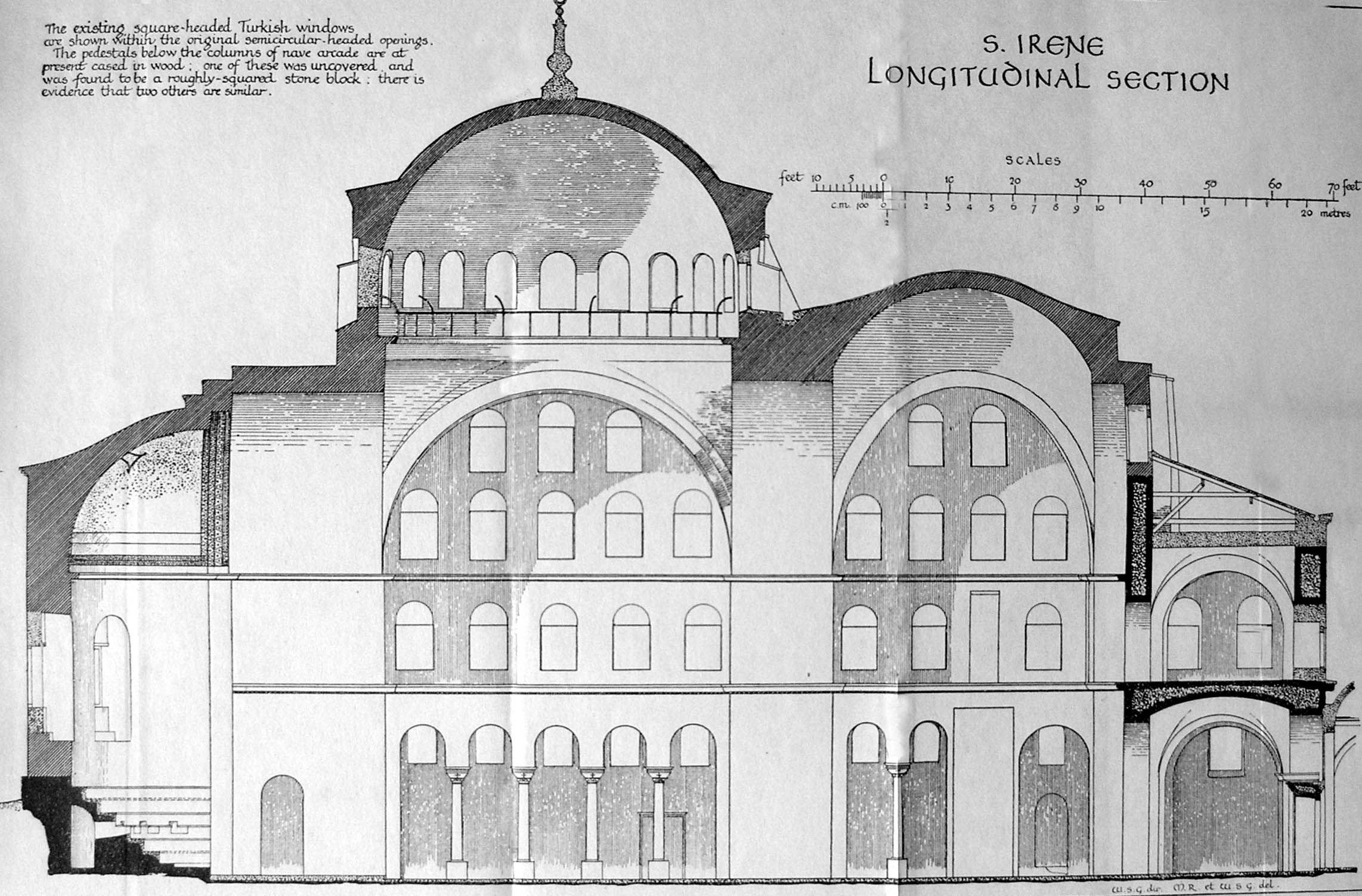 S Irene Basilica Section 2 Domes Over The Nave And Half Domes Over The Apse Thrust From The Nave D Byzantine Architecture Hagia Irene Architectural Section