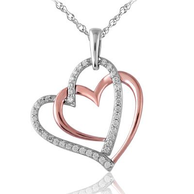 1/4 CT. T.W. Diamond Double Heart Pendant in Sterling Silver and 10K Rose Gold - Zales
