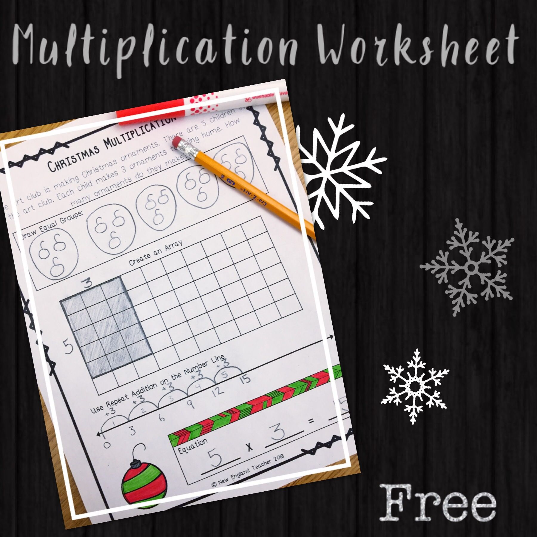 Free Christmas Multiplication Worksheet