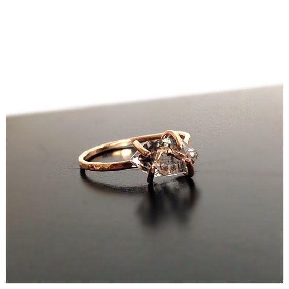 Simple Herkimer Diamond Engagement Ring Gemstone Ring by camilaestrella