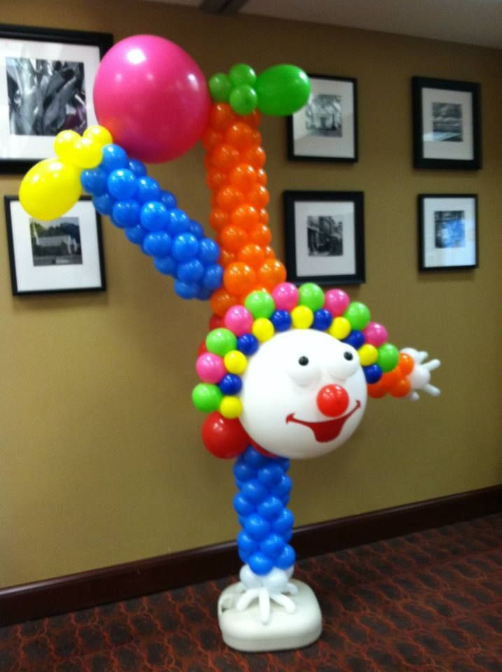 Dante 39 s upside down clown using zephyr solutions balloon for Balloon column decoration