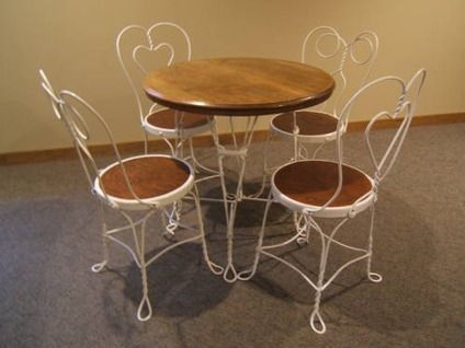 Vintage Ice Cream Parlor Table Chairs